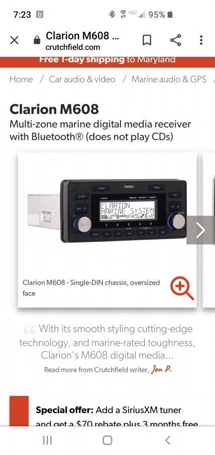 Bluetooth stereo | Club Sea Ray